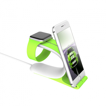 2 in 1 Desk Charging Dock Stand Station Holder for Apple Watch iPhone - Green