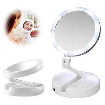 Portable Rotation Folding LED Light Up Double Side Makeup Mirror