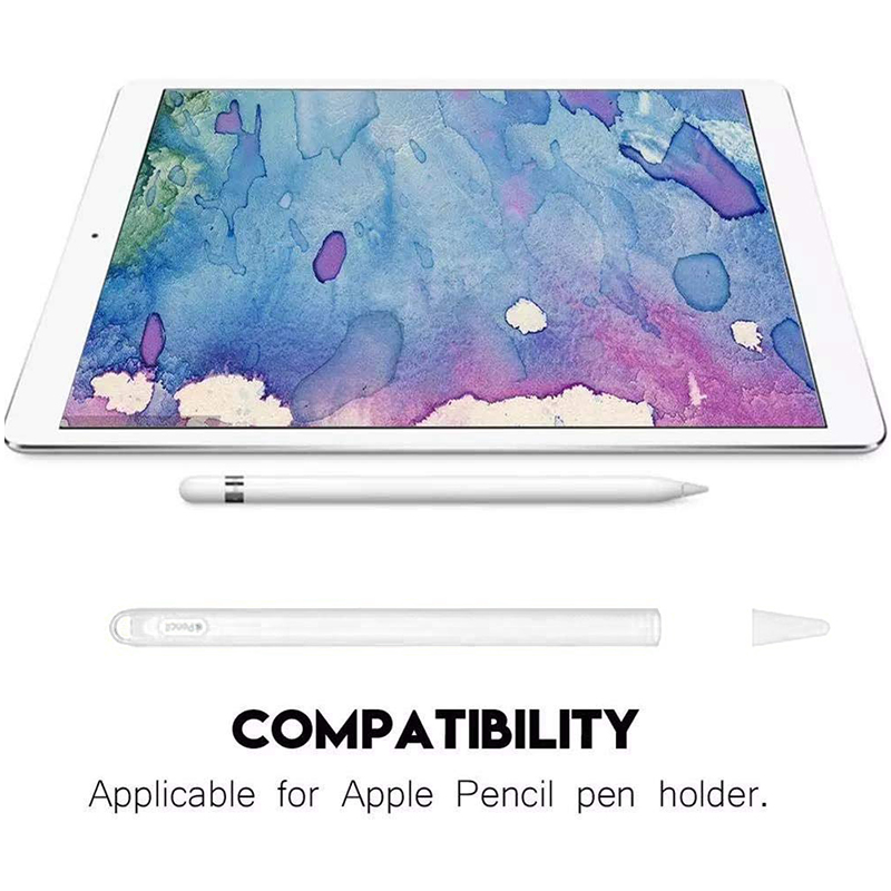 Silicone Case Stylus Protector Holding Sleeve Anti-Slip Drop Pouch with Nib Cover for Apple Pencil 2 - White