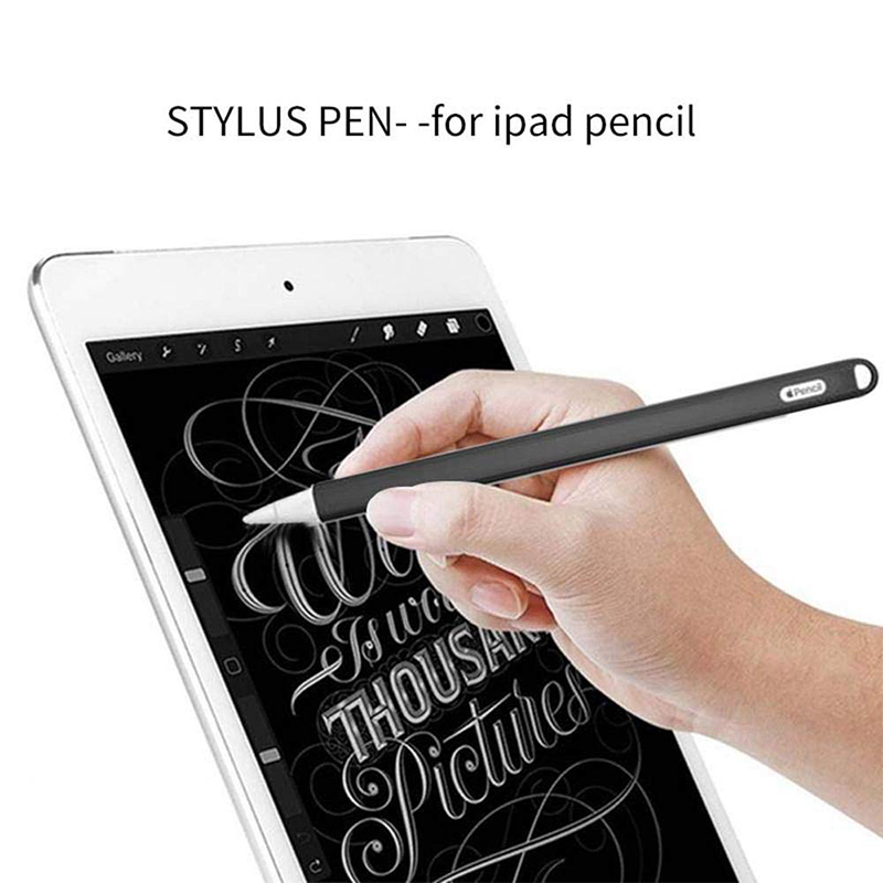 Silicone Case Stylus Protector Holding Sleeve Anti-Slip Drop Pouch with Nib Cover for Apple Pencil 2 - Black