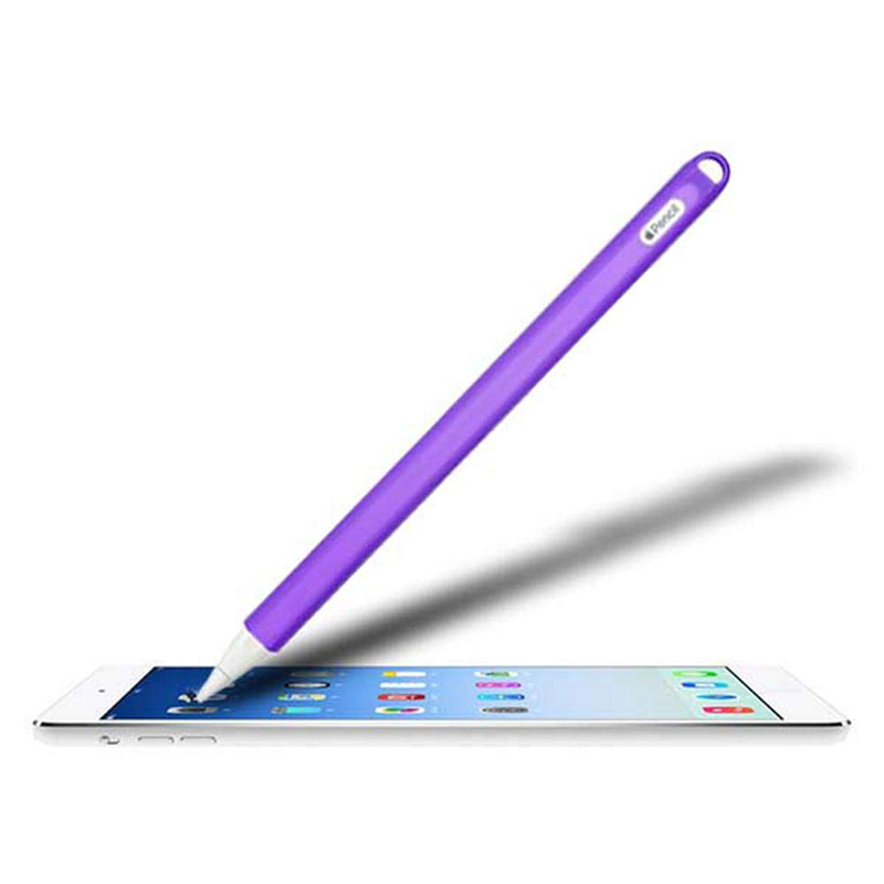 Silicone Case Stylus Protector Holding Sleeve Anti-Slip Drop Pouch with Nib Cover for Apple Pencil 2 - Purple