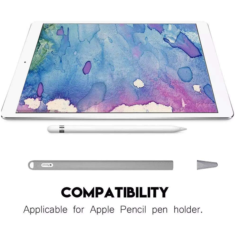 Silicone Case Stylus Protector Holding Sleeve Anti-Slip Drop Pouch with Nib Cover for Apple Pencil 2 - Grey.