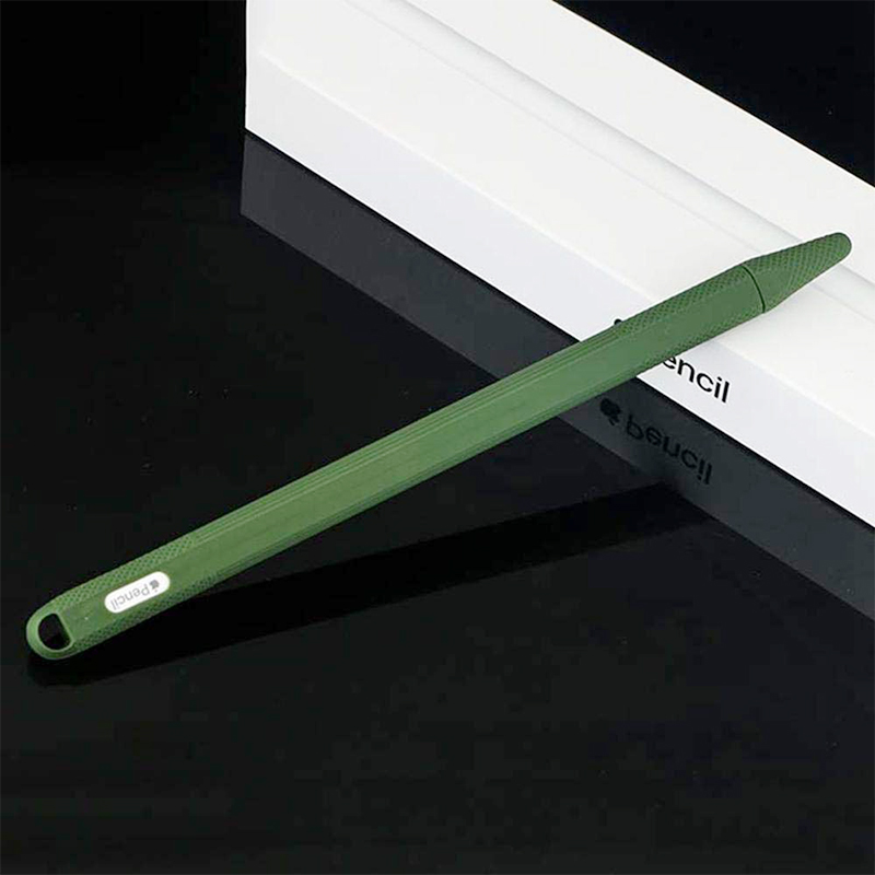 Silicone Case Stylus Protector Holding Sleeve Anti-Slip Drop Pouch with Nib Cover for Apple Pencil 2 - Army Green