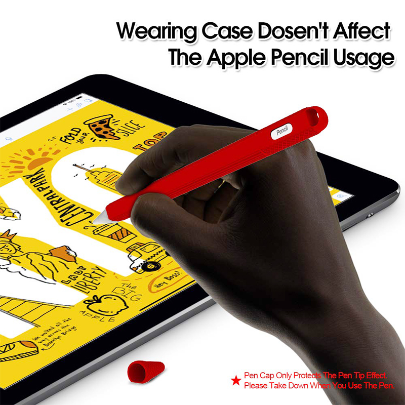 Silicone Case Stylus Protector Holding Sleeve Anti-Slip Drop Pouch with Nib Cover for Apple Pencil 2 - Red