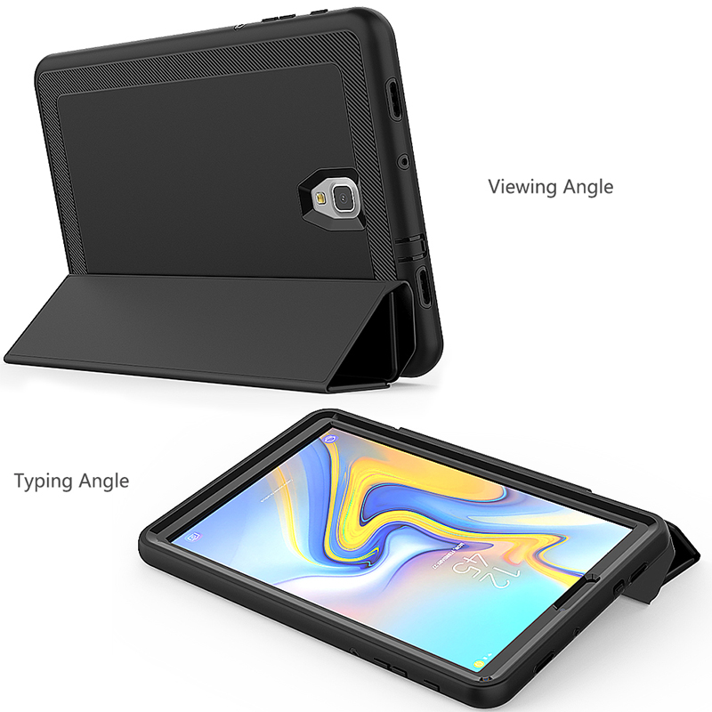 Smart Magnetic Auto Sleep Wake Protective Case Cover with Kickstand for Samsung Galaxy Tab A 10.5 - Black