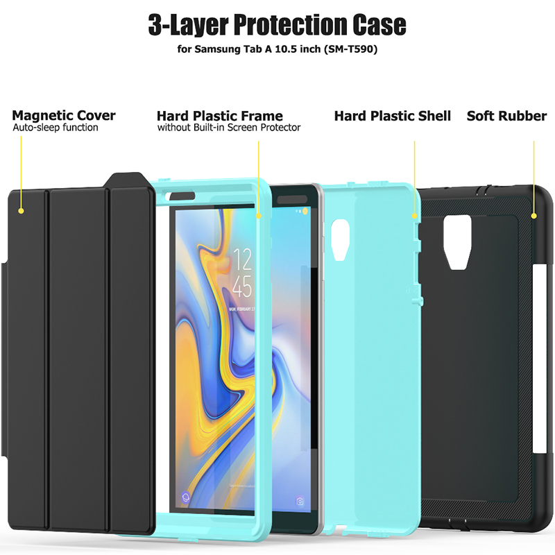 Smart Magnetic Auto Sleep Wake Protective Case Cover with Kickstand for Samsung Galaxy Tab A 10.5 - Light Blue
