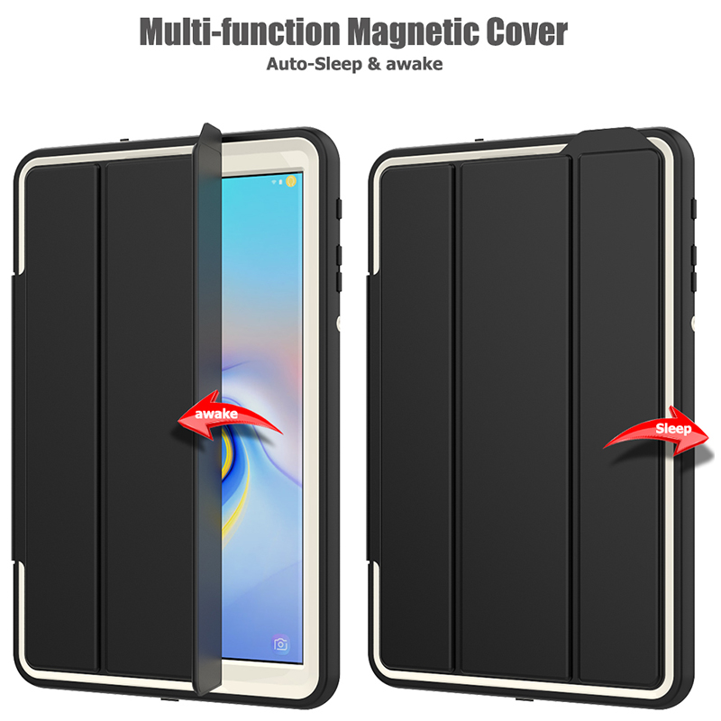 Smart Magnetic Auto Sleep Wake Protective Case Cover with Kickstand for Samsung Galaxy Tab A 10.5 - Grey