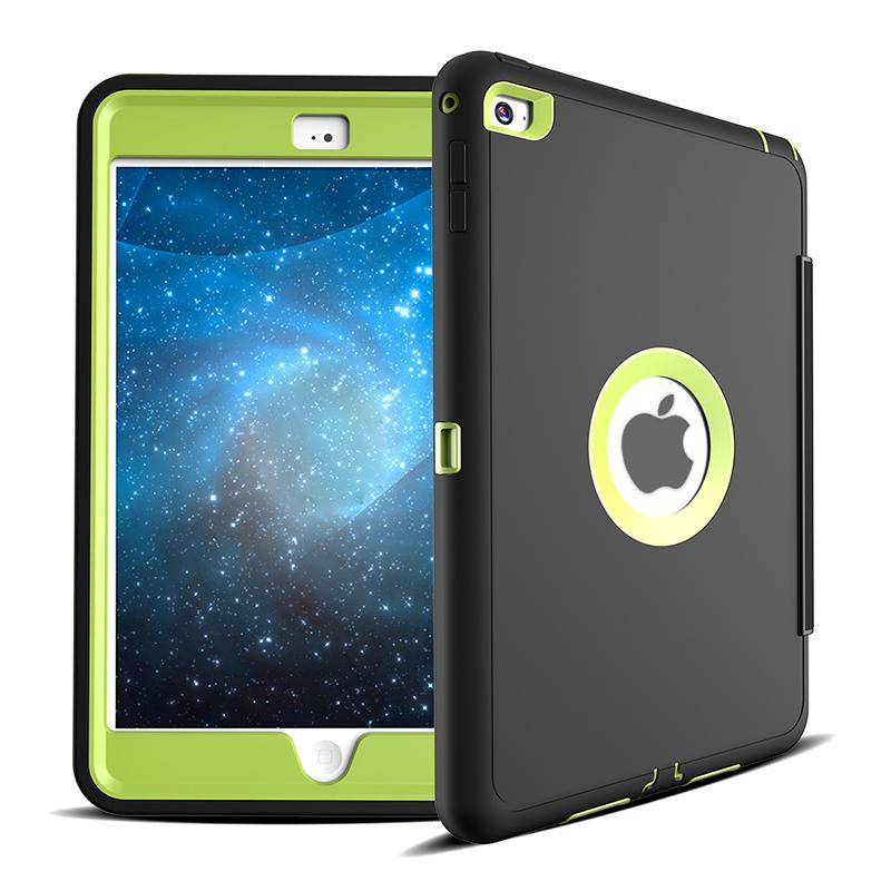 3 Layers Heavy Duty PU Protective Case Smart Cover Auto Sleep Wake Folio Stand for iPad Mini 4 - Green