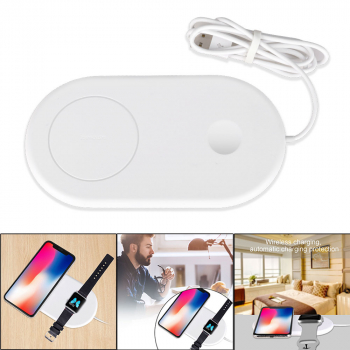 2 In 1 Qi Wireless Charger Pad Charging Station for Apple Watch iPhone Samsung Cellphone