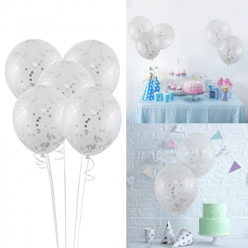 5pcs 12 inch Foil Latex Confetti Round Sequins Balloon for Wedding Birthday Hen Party - Silver