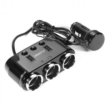 3 Way Multi Car Cigarette Lighter Socket Splitter Voltage Dual USB Charger Power Adapter