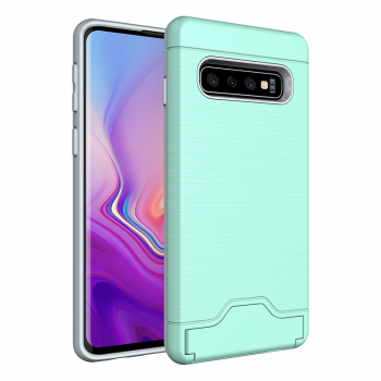 PC Silicone Faux Brushed Metal Back Cover with Card Slot Kickstand for Samsung Galaxy S10 - Green