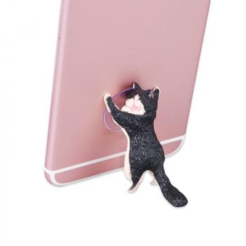 Cute Cat Resin Cellphone Holder Tablets Desk Car Stand Mount Sucker Bracket Universal - Black