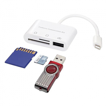 8pin to SD/TF Card Reader 3in1 USB Camera Connection Kit Adapter for iPhone iPad