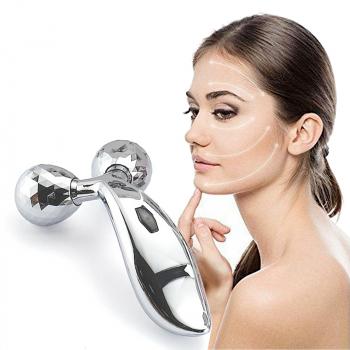 3D Massager Solar Micro Roller Face Body Slimming Lightening Blood Circulation Facial Massage Tool - Silver
