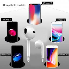 8pin Bluetooth Earphone Earbuds Wired Bluetooth Earphone for iPhone 7/8/X iPad iPod iOS System
