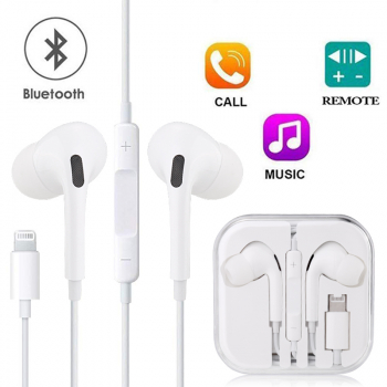8pin iPhone Earphones Bluetooth Wired for Apple iPhone with Mic and Volume