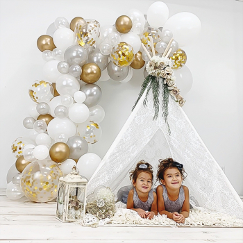 120 pcs Balloon Arch Garland Kit 12 Inch Latex Balloons with Gold Confetti