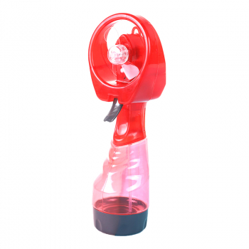 Portable Mist Spray Fan Hand Held Battery Power with Air Water Bottle Misting Cooling - Red