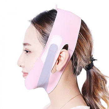 Facial Slimming Double Chin Cheek Band Strap V Face Shaper Sleeping Massage - Pink