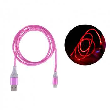 Flashing USB 3.1 iPhone 8pin Charging Cable Soft Charger Cables 1m for iPhone 5-12 - Pink