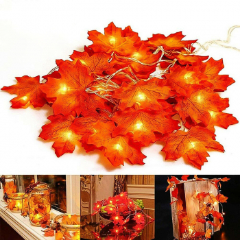 2m 20 LEDs Maple Leaves Fall Garland String Light Decor Halloween Christmas Decor