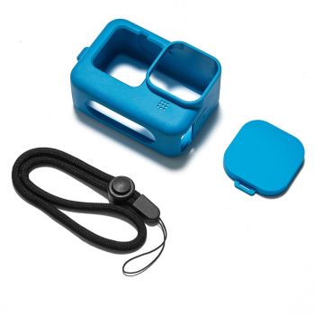 Frame Silicone Protective Housing Case Skin Lens Cover with Lanyard for Go Pro Hero 9 - Blue