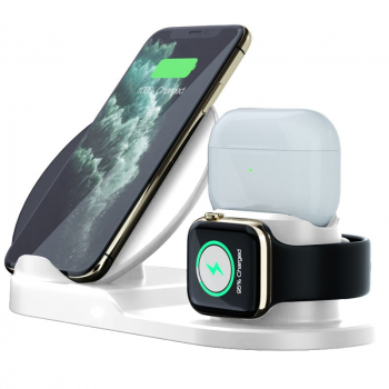 3 in 1 Qi Wireless Quick Charger Station Charging Dock for iPhone iwatch Air Pods - White