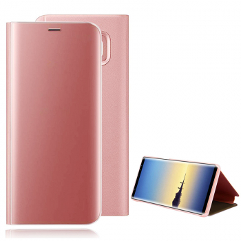 Mirror Plating PU Leather Flip Stand Case Cover for Samsung Galaxy Note 9 - Rose Golden