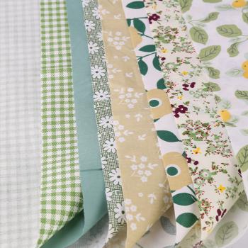 DIY 7PCS Bundles Fabric Fat Quarters Cotton Floral Dress Craft Quilt Sewing 25 x 25cm - Green