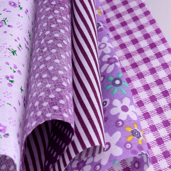 5pcs 50x50cm Cotton Fabric Assorted Pre-Cut Fat Quarters Bundle DIY Decor - Purple