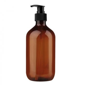300ml Refillable Empty Bottle Clear Press Pump Plastic Bottle Shampoo Liquid Soap Dispenser - Brown