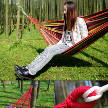 Hammock Portable Cotton Rope Outdoor Swing Fabric Camping Hanging Canvas Bed - Red