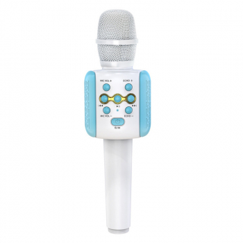 Bluetooth 50 Karaoke Live LED Colorful Lights Wireless Condenser Microphone - Blue