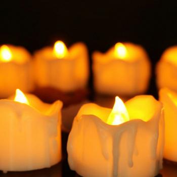 12PCS Flameless LED Candle Flickering Tea Light Battery Operated Lamp - Warm Light Flash