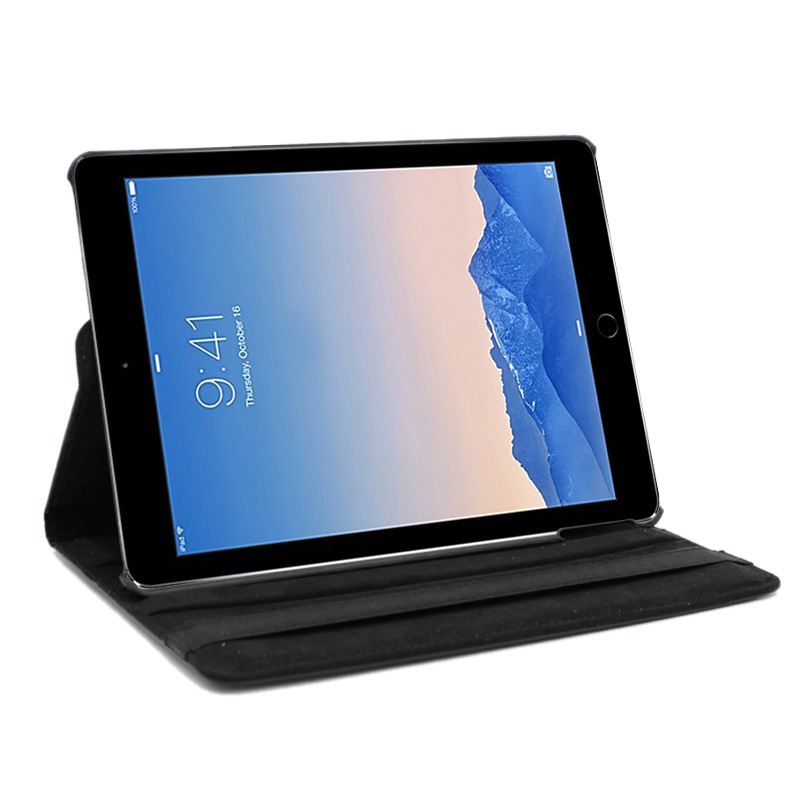 360 Rotation PU Leather Case Cover for iPad Air 2- Black