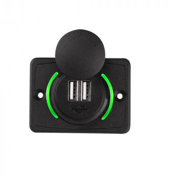 12V 3.1A Dual USB Car Charger 2 Port Adapter Power Socket Charging Panel Mount - Green