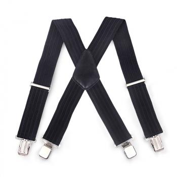 Bump Stripes 50mm Wide Heavy Duty Suspenders Adjustable Unisex Trousers - Black