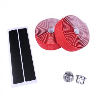 Handlebar Tape Bike Bicycle Road Sports Cork Grip Wrap Ribbon Tape and Bar Plug Handlebar Tape - Red