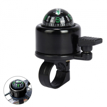 Aluminum Alloy Bicycle Ring Bell with Compass Bike Handlebar Alarm Horn Mountain Accessories - Black