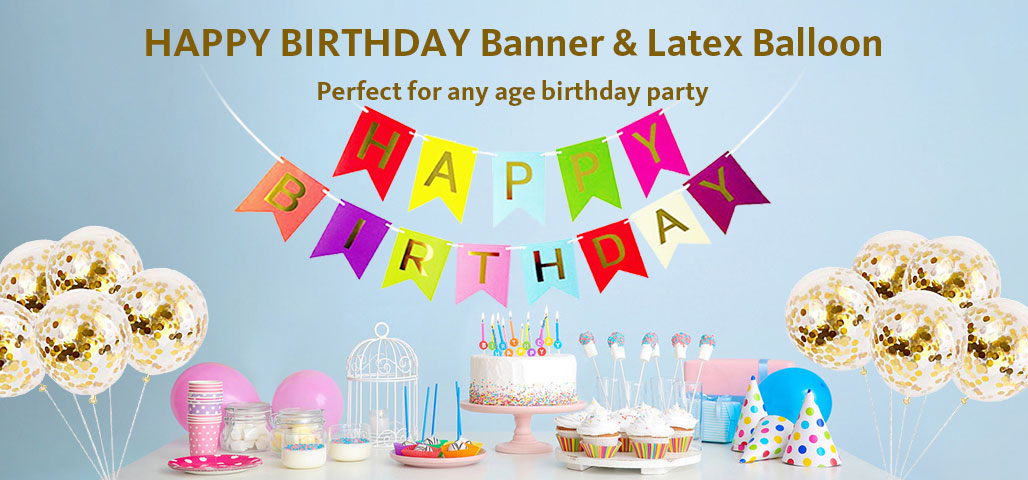 HAPPY BIRTHDAY Banner & Latex Balloon