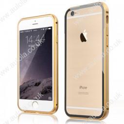 "Luxury Aluminum Border Gilt Frame Transparent Back Case Cover For iPhone 6 5.5"" - Golden"