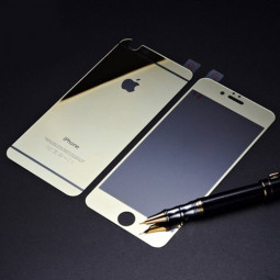 Front + Back Electroplate Mirror Tempered Glass Arch Edge Screen Protect Film for iPhone 6 5.5 - Gold