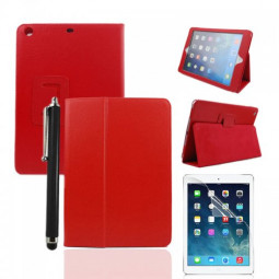 Red Two Fold Stand Case Cover for iPad 5(Air) + Protective film + Stylus
