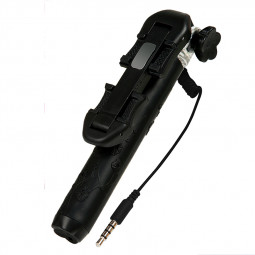 Super Mini Flower Pattern Selfie Stick Monopod Wired Remote Phone Camera Holder - Black