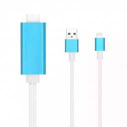 Digital 8 Pin to HDMI HDTV Adapter Cable for iPhone6 6S Plu 5S - Blue