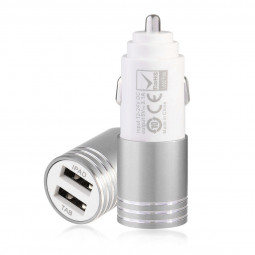 5V 3.1A Dual USB Car Charger for iPad Tablet Phone - Silver