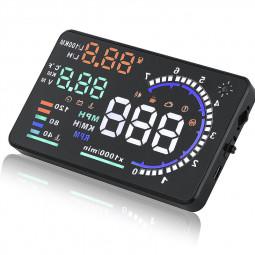 "A8 5.5"" Car HUD Head Up Display OBD II Speed Warning System Fuel Consumption"