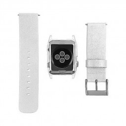 Transparent PC Shield Housing + Leather Watchband Belt for 42mm Apple Watch - White