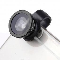 LX-P301 Universal 3 in 1 Fish Eye Lens Camera Kit Wide Angle Macro - Black